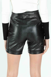 FAUX LEATHER BIKER SHORT