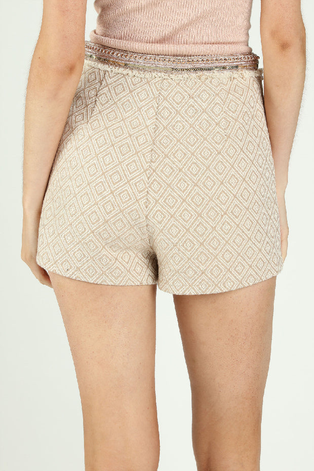 PRINTED HIGHWAIST SHORT WITH TRIM DETAIL