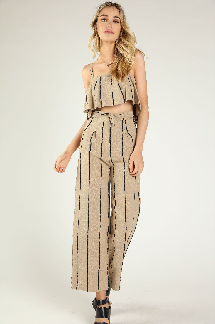 LINEN PLEATED PANTS WITH WAIST TIE