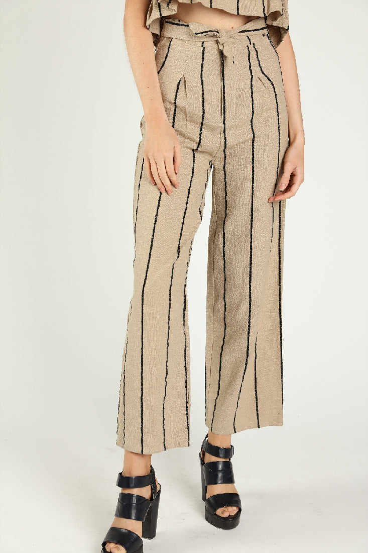 STRIPED LINEN RUFFLE CROP TOP + PANTS