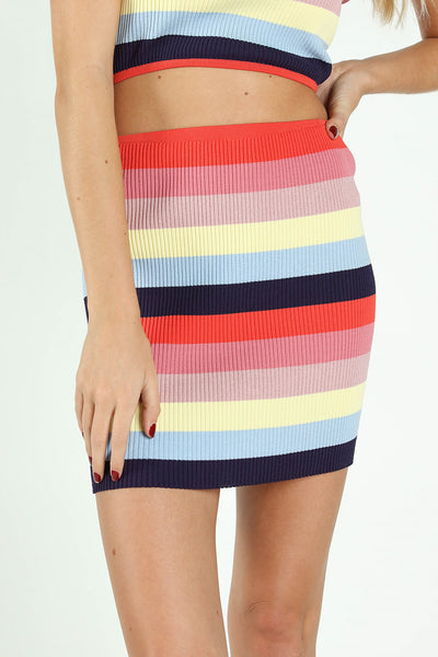 STRIPED COLORBLOCK RAINBOW BODYCON SKIRT