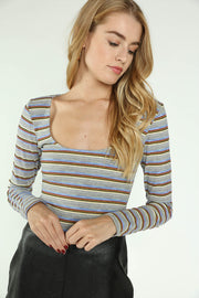 LONG SLEEVE STRIPED CROP TOP