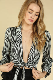 ZEBRA LONG SLEEVE FRONT TIE TOP