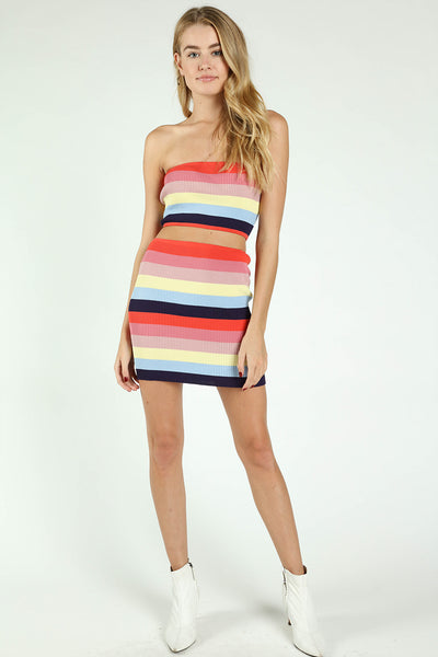 RIBBED STRIPED COLORBLOCK CROPPED TUBE TOP + SKIRT