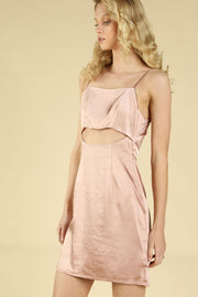 SATIN PEEKABOO SLIP DRESS
