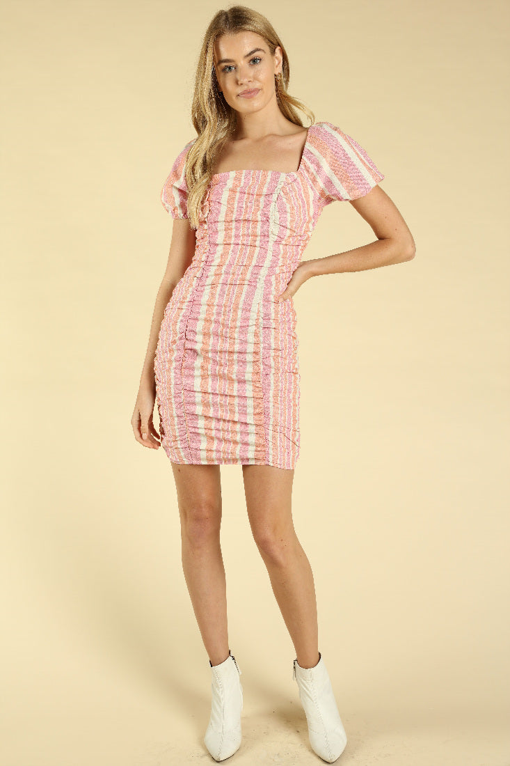 SQUARE NECK GINGHAM DRESS WITH PUFF SLEEVES