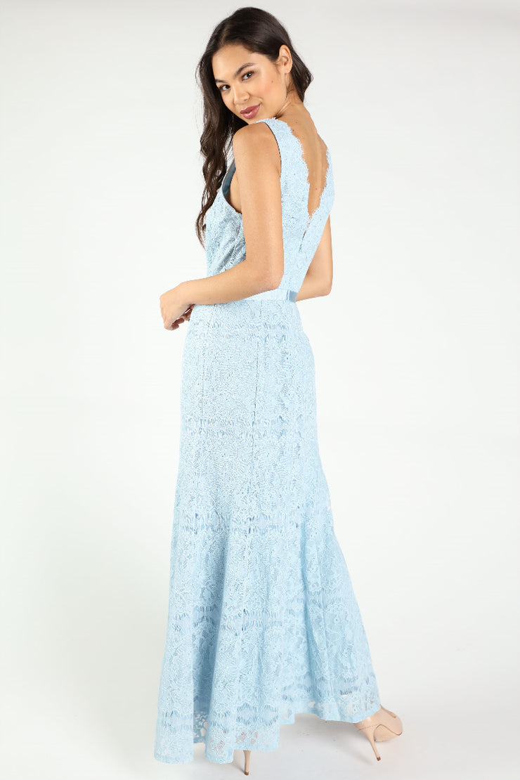 BRIDESMAID V NECK LACE MAXI