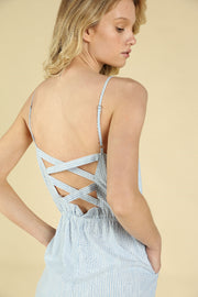 STRIPE CROSS BACK JUMPSUIT