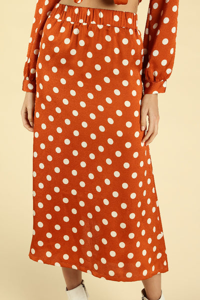 POLKADOT MIDI SKIRT WITH ELASTIC WAISTBAND