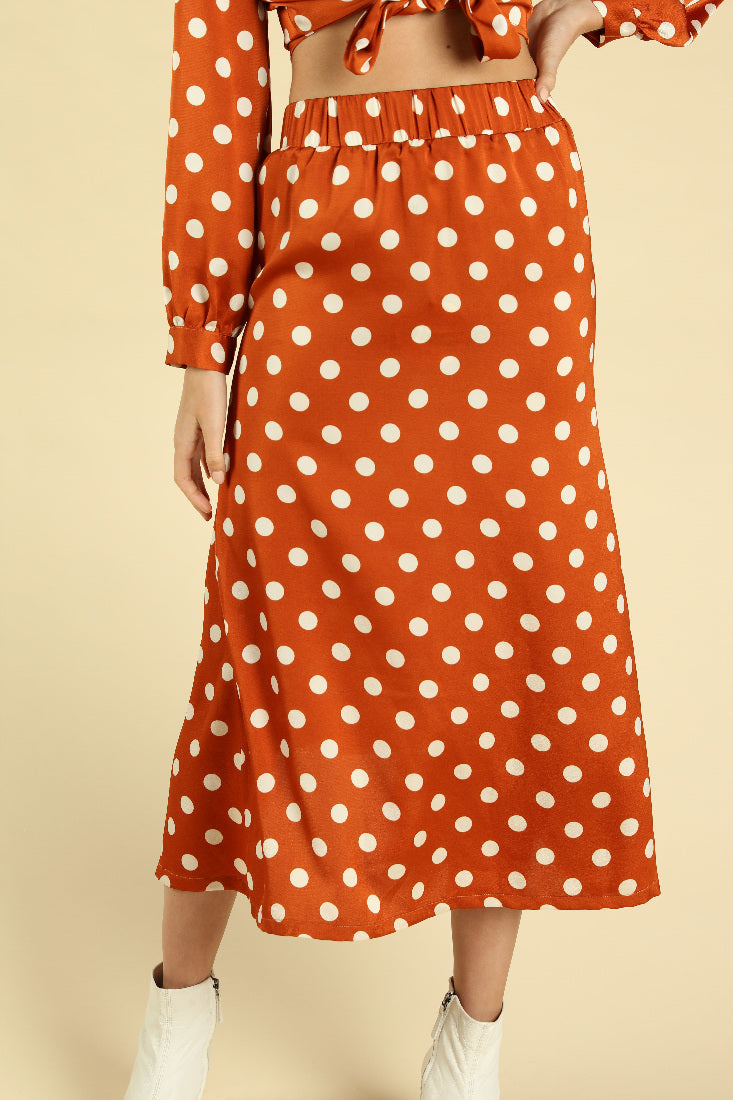 POLKA DOT LONG SLEEVE FRONT TIE CROP TOP + MIDI SKIRT