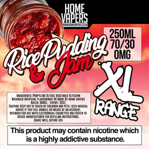 Rice Pudding And Jam XL - 250ml By Home Vapers