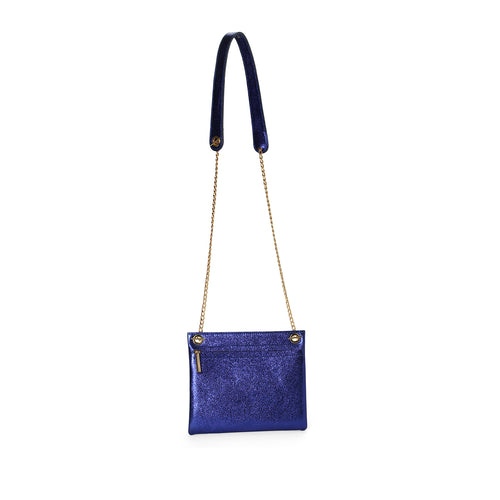 Sapphire metallic leather assemblage pouch with chain cross body