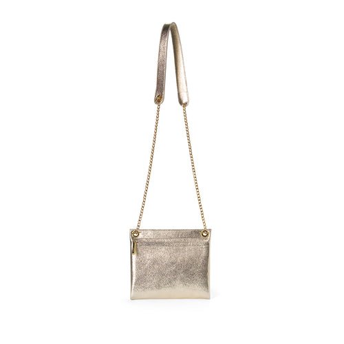 Satin metallic leather assemblage pouch with chain cross body