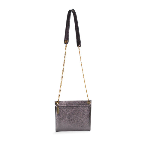 Titanium metallic leather assemblage pouch with chain cross body