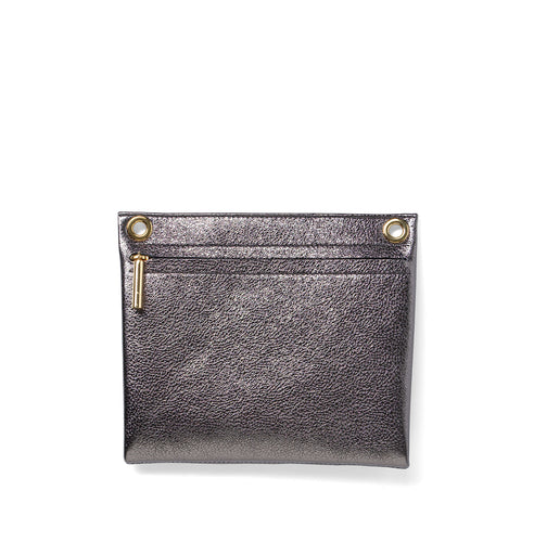 Titanium metallic leather assemblage pouch