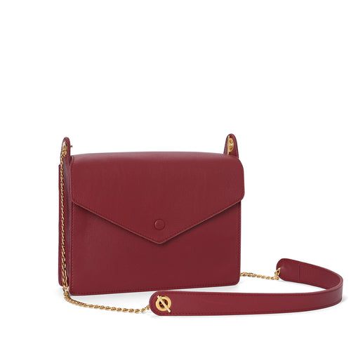 Handmade garnet leather button bag with chain cross body
