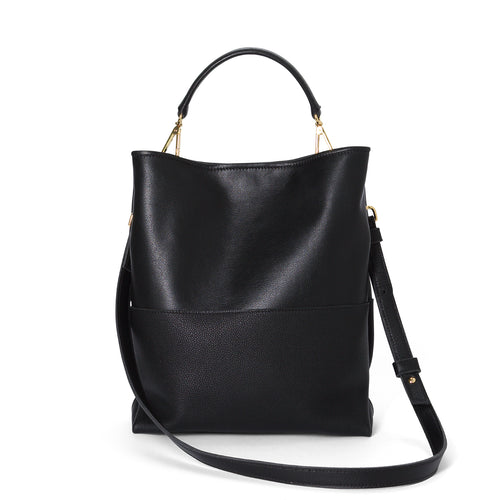 Black leather East Tote with mini handle and leather cross body