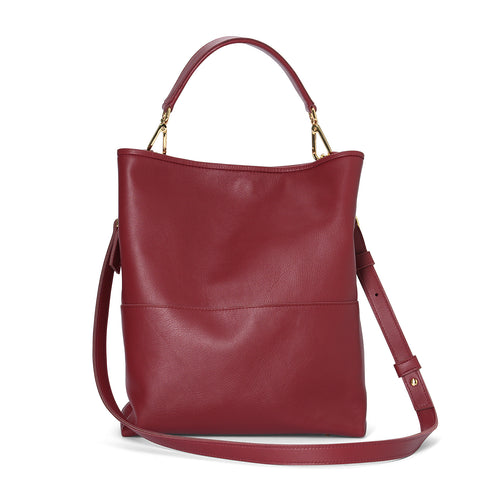 Garnet leather Easy Tote with Mini Handle and Leather Cross Body