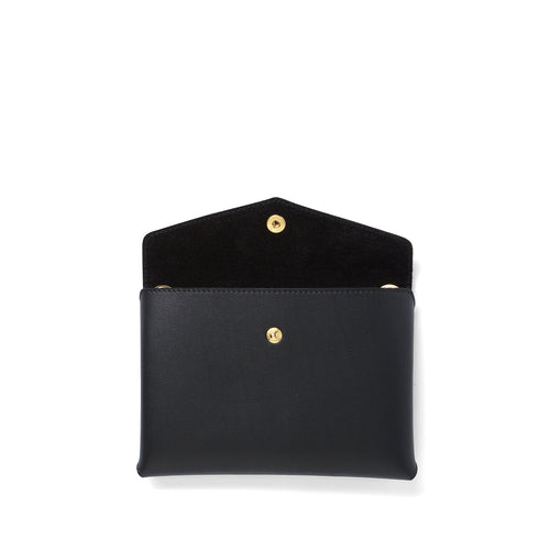 Handmade black leather Envelope Pouch open