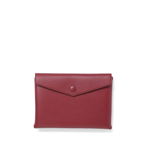 Handmade garnet leather Envelope Pouch
