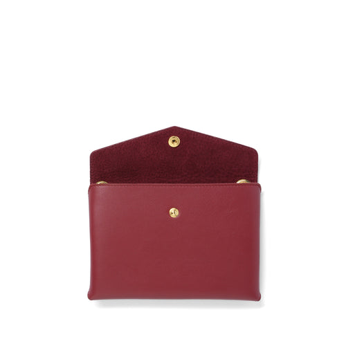 Handmade garnet leather Envelope Pouch open