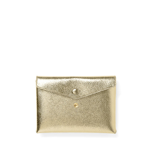 Handmade satin metallic leather Envelope Pouch with two snaps