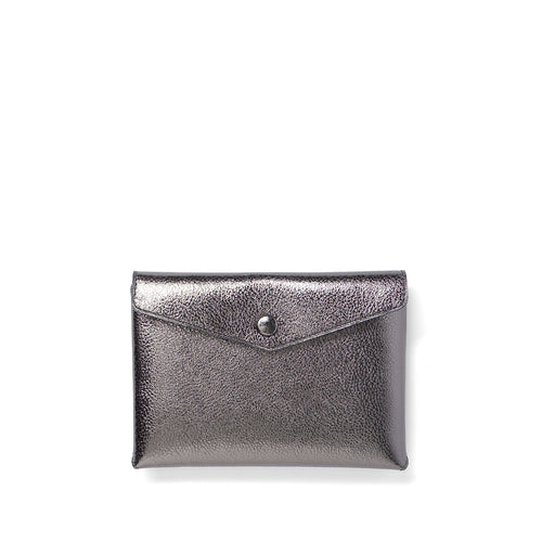 Handmade titanium metallic leather Envelope Pouch
