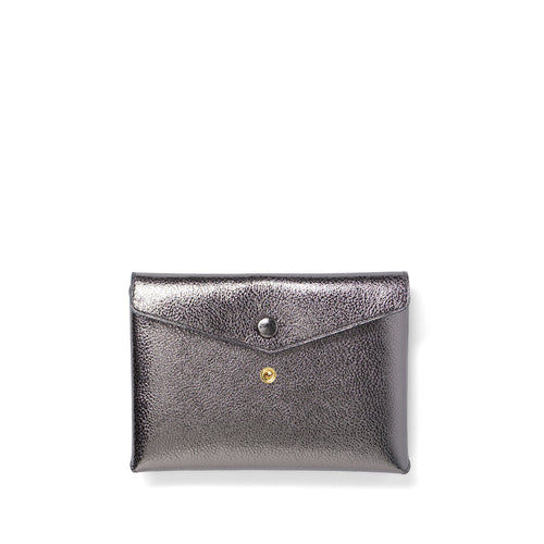 Handmade titanium metallic leather Envelope Pouch with two snaps
