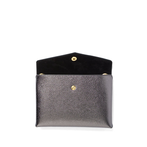 Handmade titanium metallic leather Envelope Pouch open