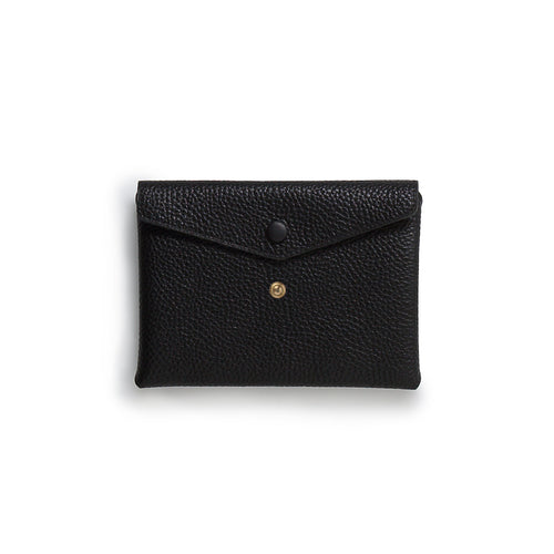 Handmade black leather Envelope Pouch with two snaps