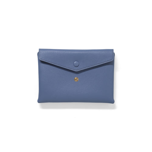 Handmade lavender leather Envelope Pouch with two snaps