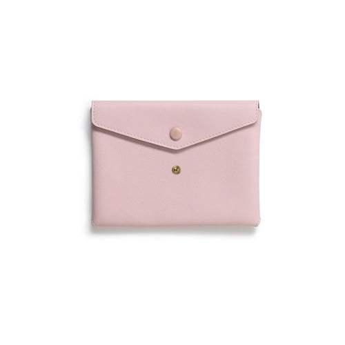 Handmade pale pink leather Envelope Pouch with two snaps