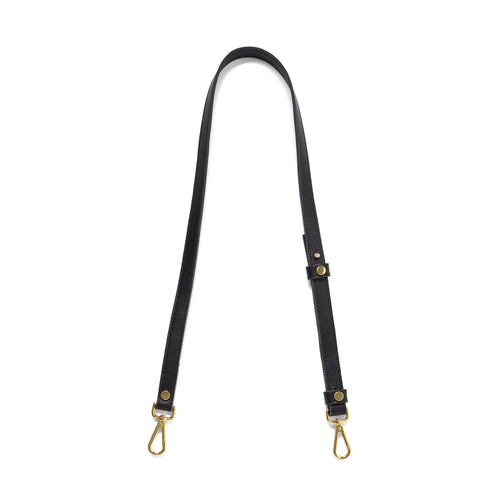 Black leather cross body strap with gold tone clasps