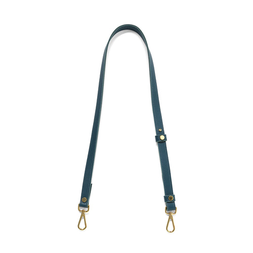 Teal leather cross body strap with gold tone clasps