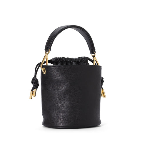 Black leather Little Bucket with mini handle