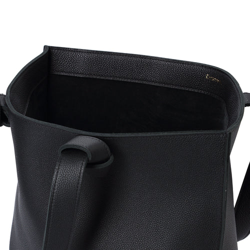 Handmade black leather Market Tote open