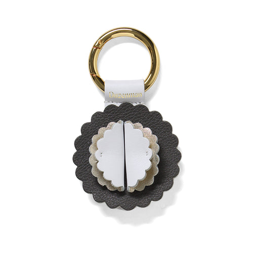 Black and white leather Starburst key ring