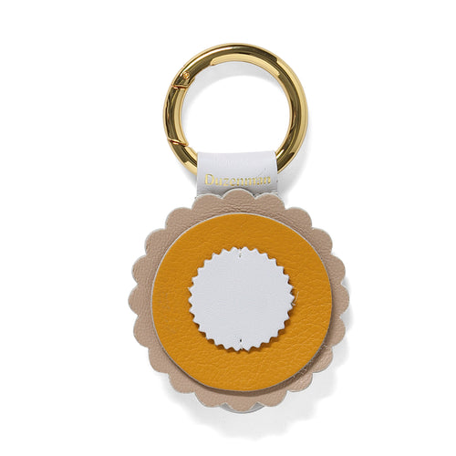 Mustard and taupe leather sunrise key ring