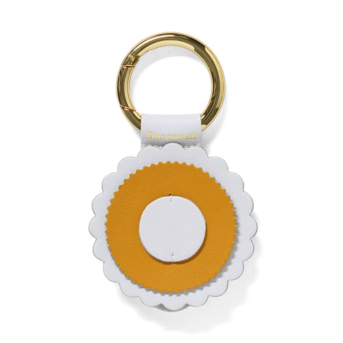 Mustard and white leather sunrise key ring
