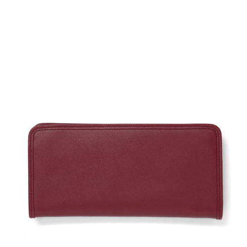Garnet leather long wallet front
