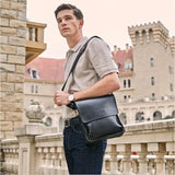 2018 Men s Casual Business Leather Messenger Bag Vintage Crossbody Bag