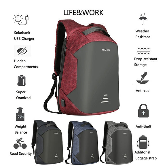 Multi-Function USB Charging Backpacks Oxford Cloth Anti-Theft Computer Package Unisex High-Capacity Trend Anti-Lost Shoulder Bag