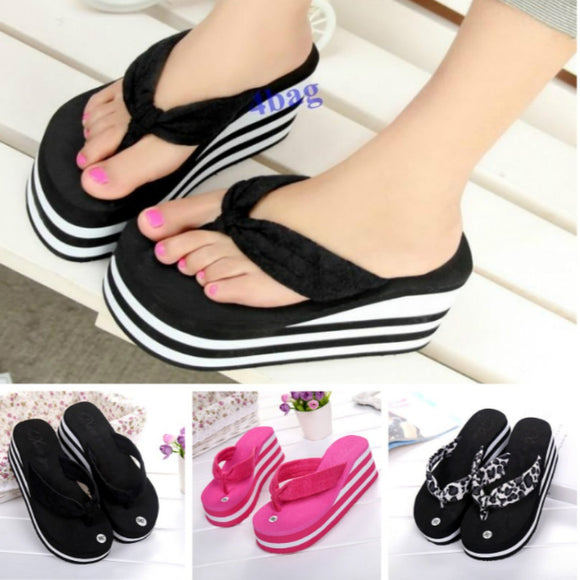 Womens Slippers High Heel Flip Flops Striped Wedge Sandals Comfy Beach Shoes