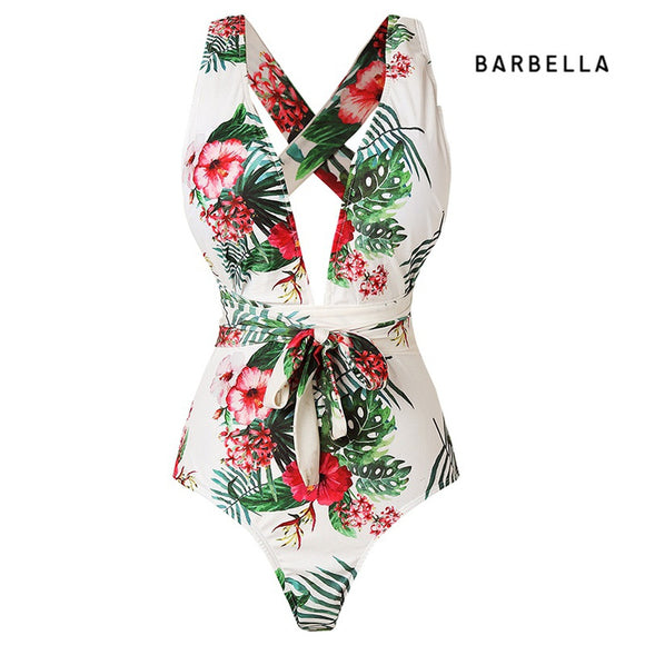 Women Summer Fashion Floral Printed Blackless V-neck Halter High Waist Onepiece Bikini Swimwear Bathing Suits