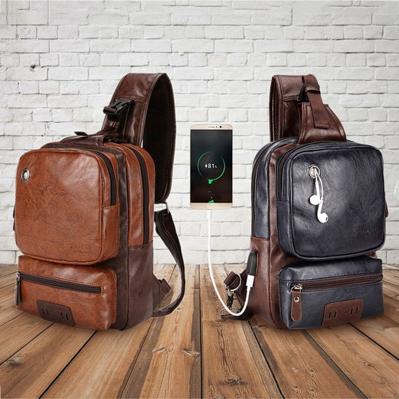 Vintage Large Capacity PU Leather Sling Bag External USB Charging Interface Adapter Charging Cable Chest Bag Crossbody Bag