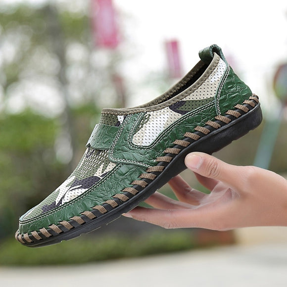 Men's Plus Size Camouflage Breathable Hollow Slip-on Summer Loafers Leather Shoes(green,brown,blue,38-46)