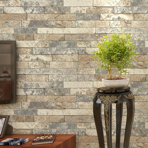 3D Stereoscopic Stone Brick Wall Paper Waterproof Thickened Vinyl Wallpaper