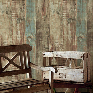 European Vintage Mural Wallpaper Wood Striped Flock