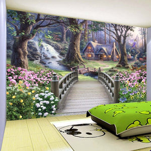 Modern Wallpaper European Fantasy World Forest Garden Custom Photo