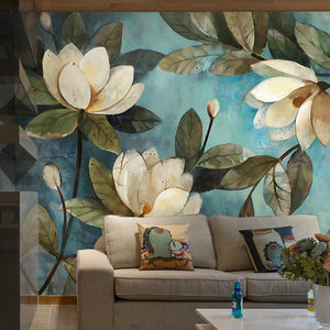 High Quality Deep Texture  3D White Lotus Retro Style Oil Painting